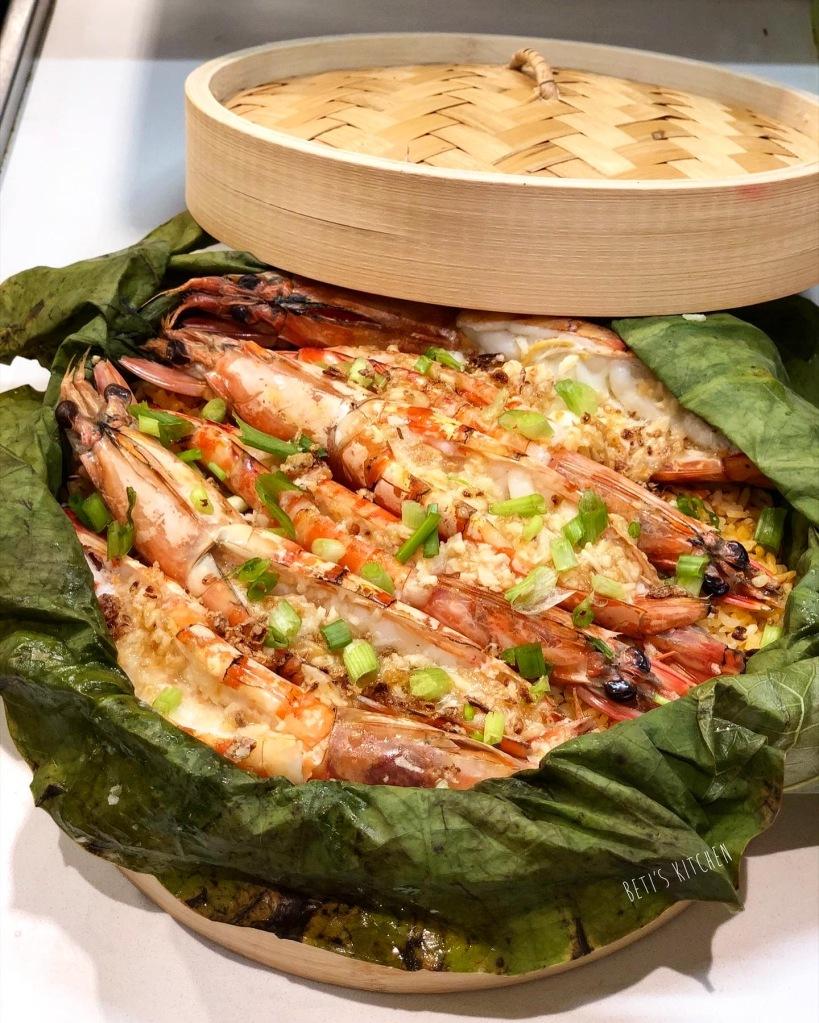 荷葉蒜蓉蒸蝦黄金飯