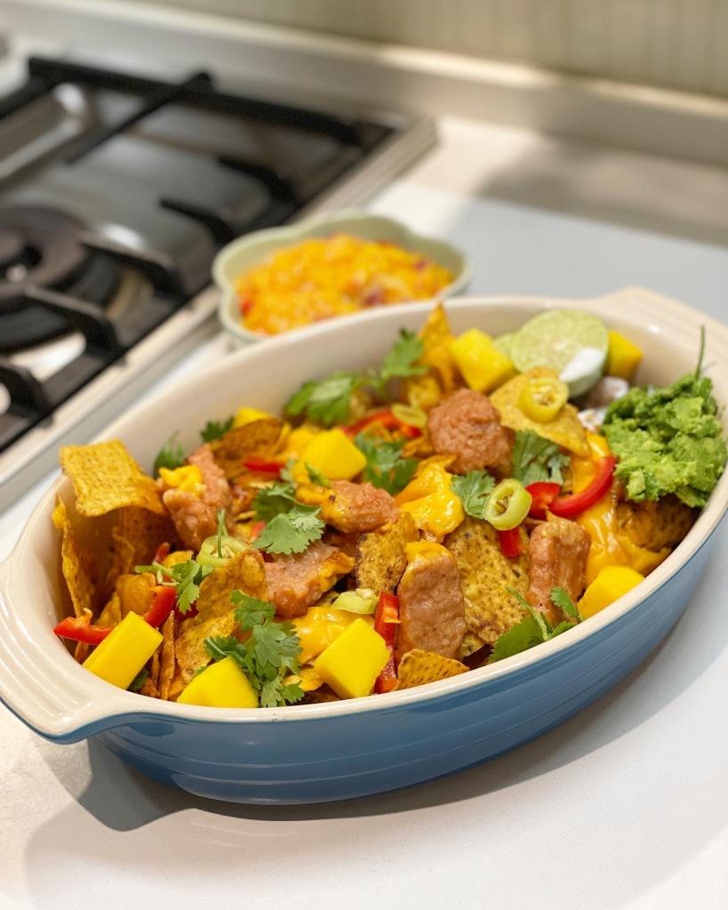 新餐肉芒果莎莎醬配墨西哥粟米脆片
